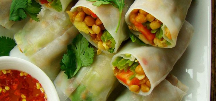 Lentil Rice Wraps with Sweet Chili Dipping Sauce