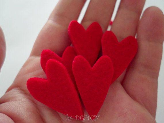 Felt red heart 25 pcsdie cut feltcraft suppliesfelt by DGNCY