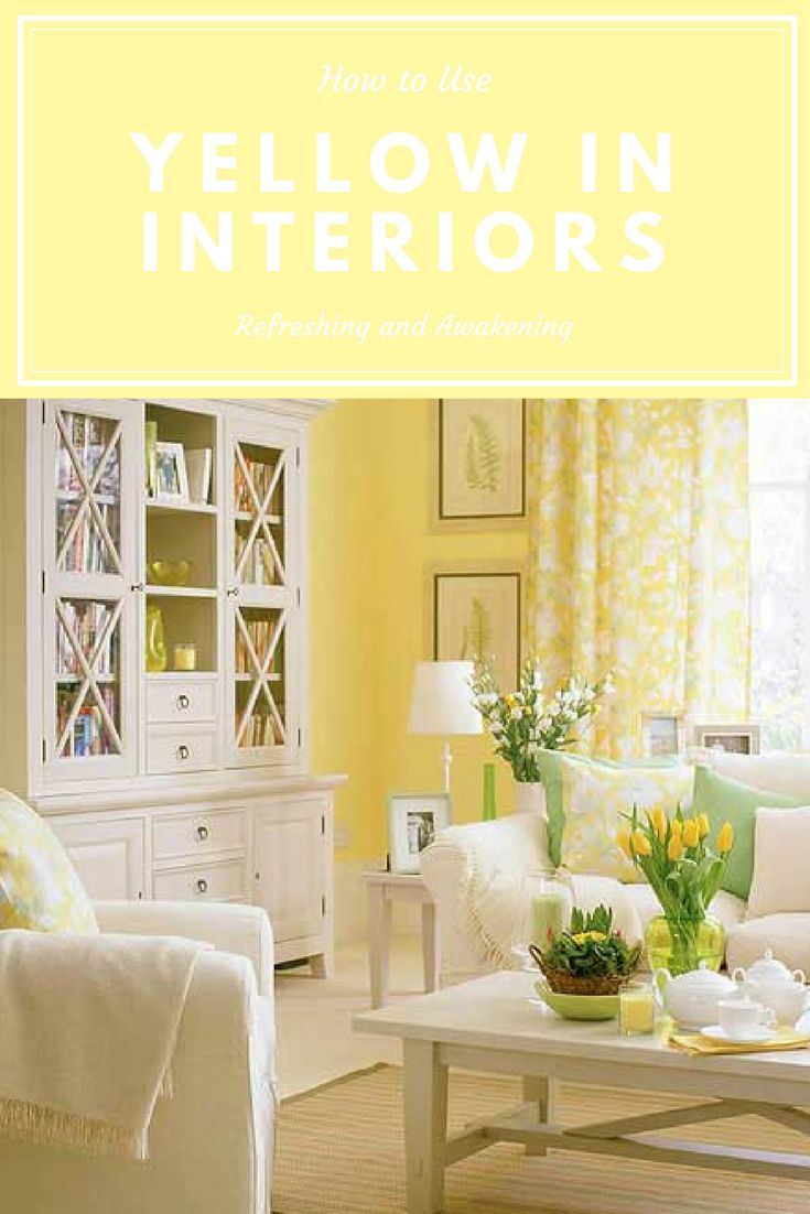 Yellow interior. Yellow paint. Yellow room. When it comes to rooms like  breakfast rooms, dressing rooms, and bathrooms where you spend most of your mornings there is no better color to fuel your impending day than yellow. Color psychology.