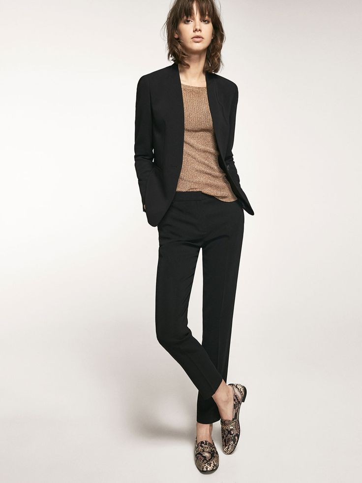 Autumn winter 2016 Women´s BLACK CREPE SUIT TROUSERS at Massimo Dutti for 64.95. Effortless elegance!