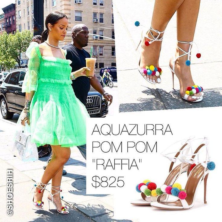 "Aquazurra white/multicolored strappy Pom Pom ""Raffia"" sandals $825, @badgalriri #NY"