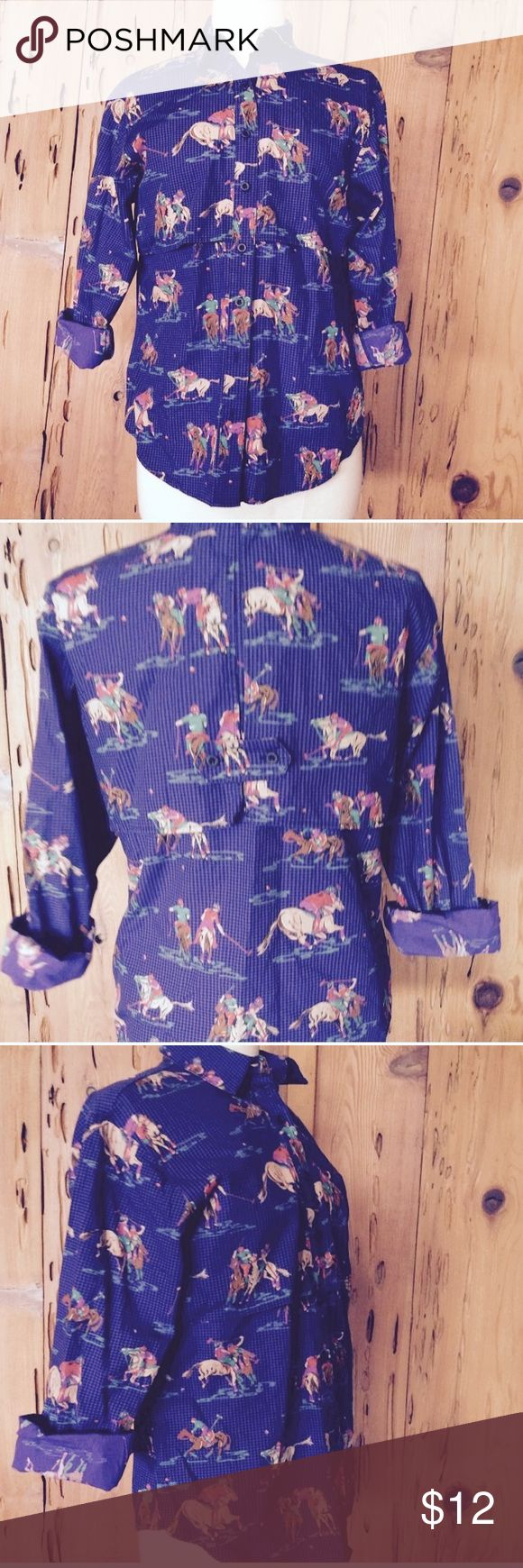 Vintage purple polo print novelty button shirt Polo!!! Vintage button shirt Purple check with bright colorful Polo print Back has vented flaps and tab treatment Size is medium Slouchy fit  Perfect condition. Tops Button Down Shirts
