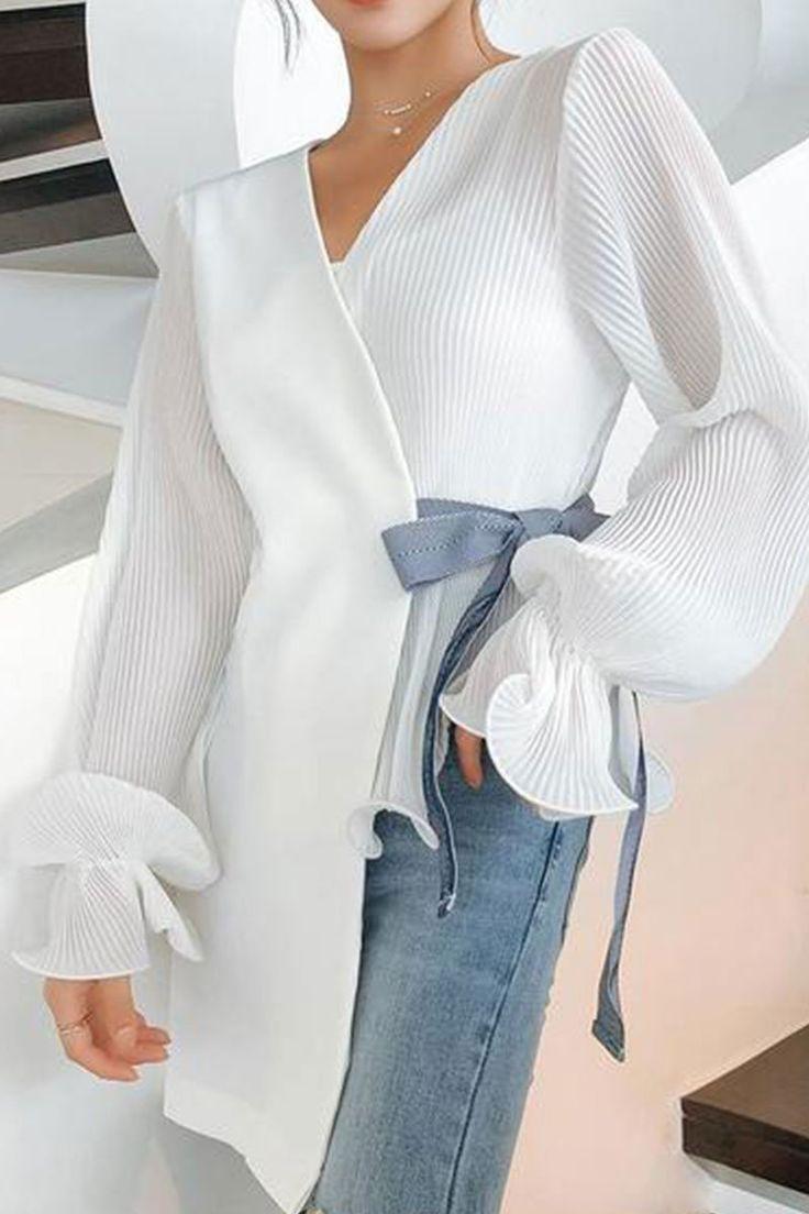 Product Fashion V Neck Loose Long Sleeve Chiffon Blouse Brand Name Chicokay SKU ... 1