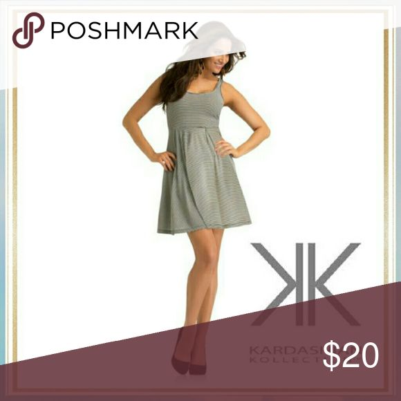 Kardashian Kollection Striped Fit and Flare Dress Striped Design Pullover Lightweight Scoop neck NWOT Kardashian Kollection Dresses Midi