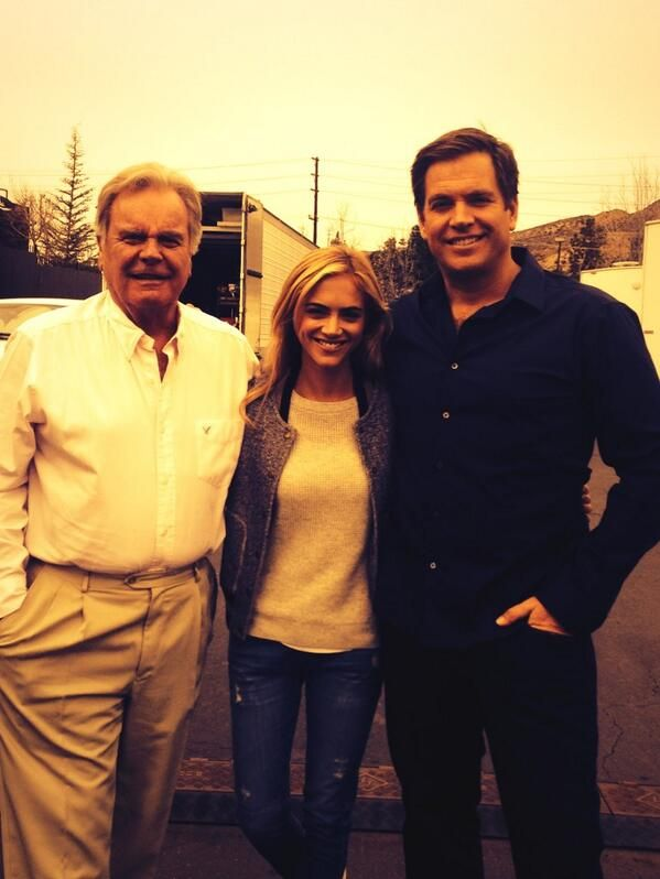 "Emily Wickersham was cast as an NSA Analyst Eleanor ""Ellie"" Bishop in an NCIS episode. She is seen here with Michael Weatherly and  Robert Wagner (Anthony DiNozzo Sr.)"