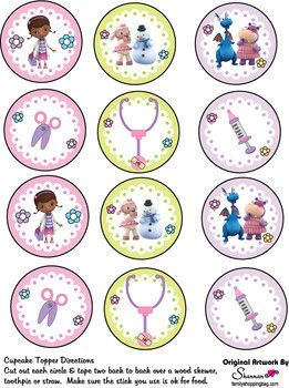 Cupcake Toppers, Doc McStuffins, Party Decorations - Free Printable Ideas from Family Shoppingbag.com