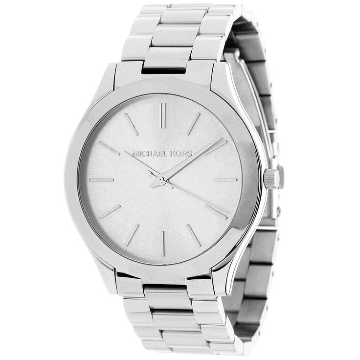 This stunning women's 'Runway' watch from Michael Kors features a stainless steel case with a matching bracelet. The silver dial is home to hourly stick markers and hands for easy time-telling.