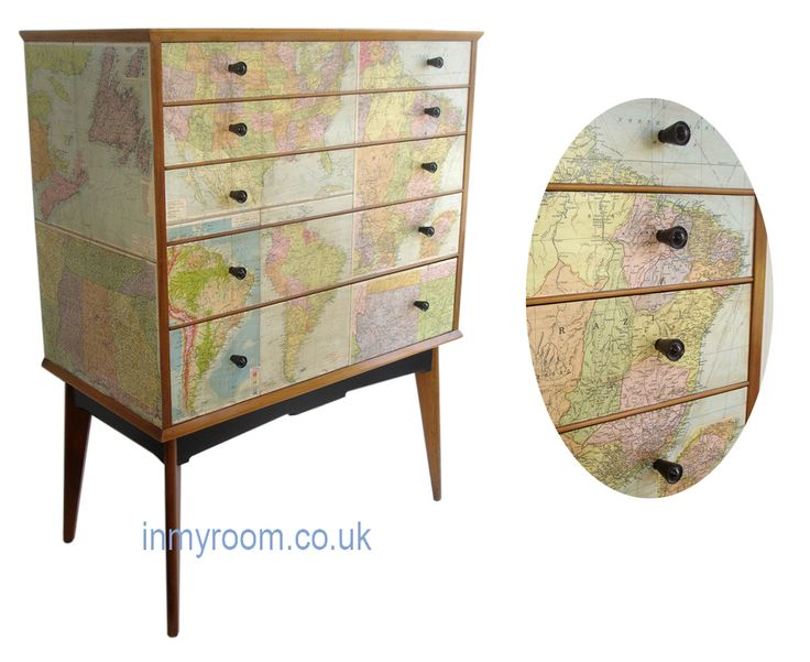 Decoupage in vintage maps chest of drawers by alfred cox inspiration for a diy maps alfred - Upcycling ideas for furniture ...