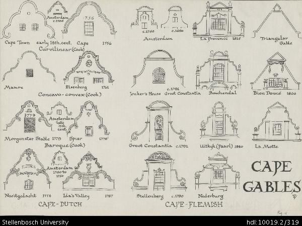 Drawing Of Cape Gables Depicting Cape Dutch Cape Town