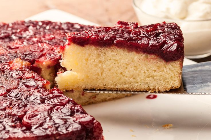 A rich cranberry upside-down cake recipe.