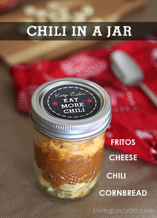 Chili in a Jar with Free Printables. LivingLocurto.com  Also, how to make a chili bar with all kinds of toppings! So fun!