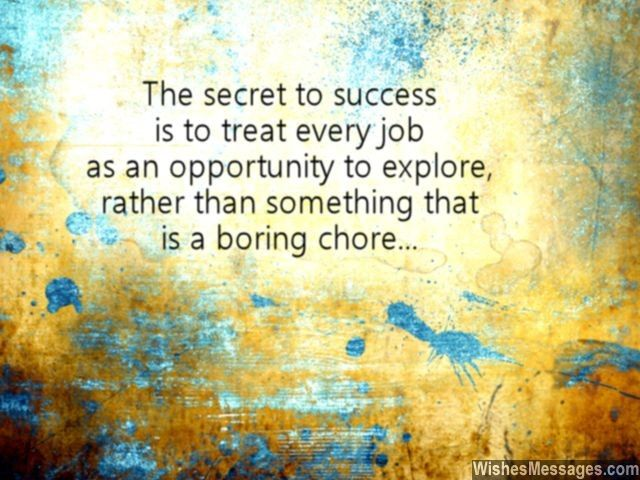 The secret to success is to treat any job as an opportunity to explore, rather than something that is a boring chore. via WishesMessages.com