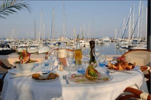 Dining in front of the port at La Brocherie in Mandelieu-la-Napoule on the French Riviera