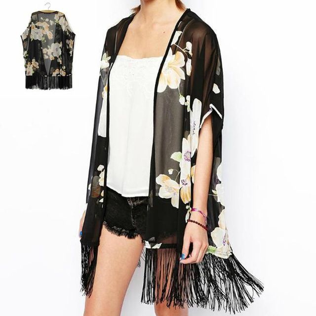 20pcs/lot Ladies Flower Printing Design Cardigan Chiffon Wrap Kimono Style Cover Up Coat With Tassel Make Up Decoration QBZ123 US $310.00 To Buy Or See Another Product Click On This Link  http://goo.gl/yekAoR