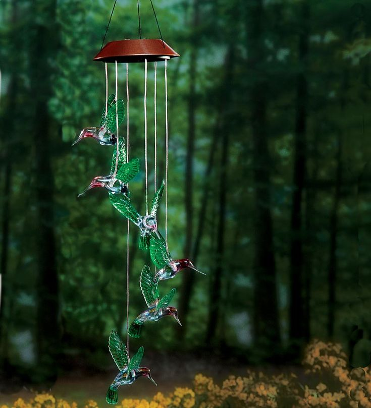 These Outdoor Lighting Ideas Will Brighten Up Your Summer: Six Hummingbird Solar Mobile