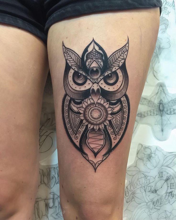 Black and grey mandala owl tattoo | Owl | Pinterest