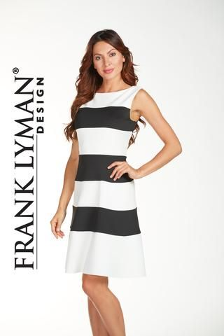 Frank Lyman 2017. Stunning silky scuba knit dress with exposed back zipper in very flattering silhouette. Proudly Made In Canada