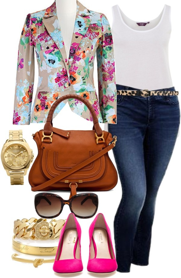 """""""Floral Blazer - Plus Size"""" by alexawebb ❤ liked on Polyvore"""