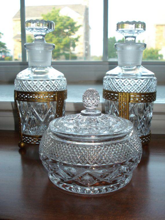 Vintage Glass Vanity Set Perfume Bottles