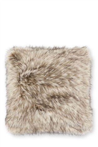Natural Tipped Faux Fur Cushion