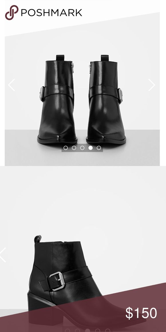 Allsaints Jason Boot This new collection of Allsaints Jason Boot is made with pebble black leather.  It has been only worn once! The block heel height is 6.5 cm which makes it great for walking all day in them! Allsaints Shoes Heeled Boots