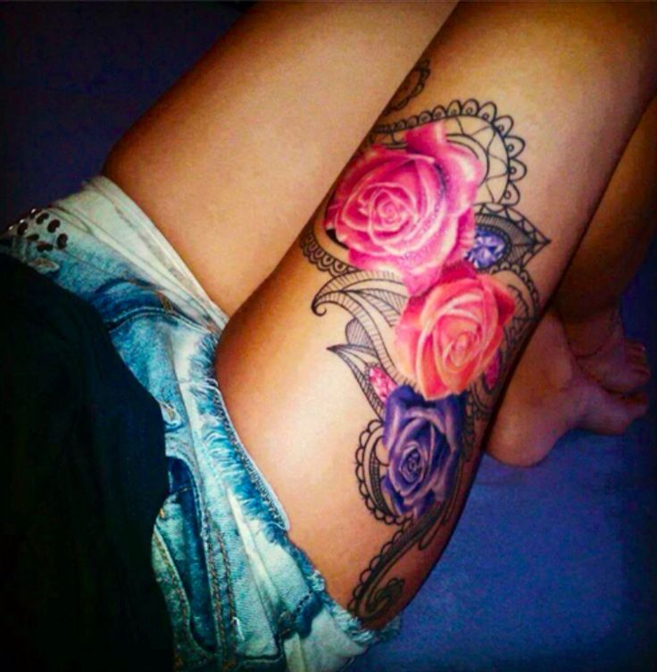 ❥❣❥LOVE!!❥❣❥ I am not a big fan of tat roses, but this design is gorgeous an I love colors (bright).