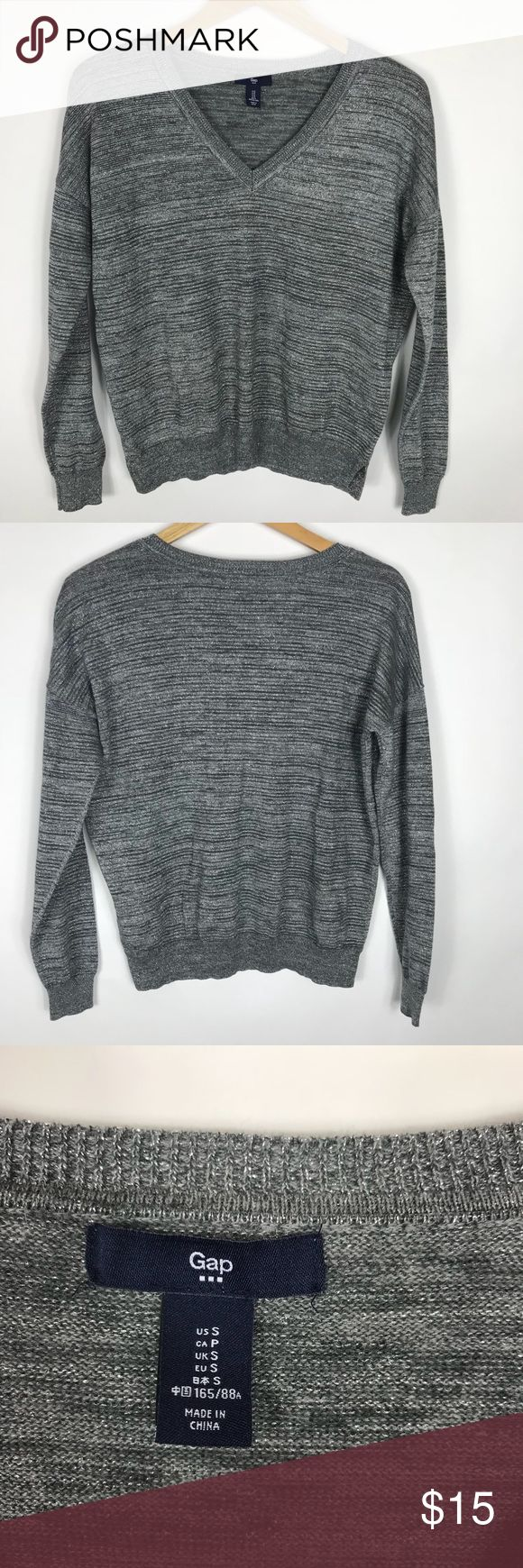 """GAP size small long sleeve top metallic weave GAP womens size small long sleeve top neck silver glitter metallic weave gently used condition. smoke free home.  armpit to armpit 21"""" length 23"""" GAP Tops Tees - Long Sleeve"""