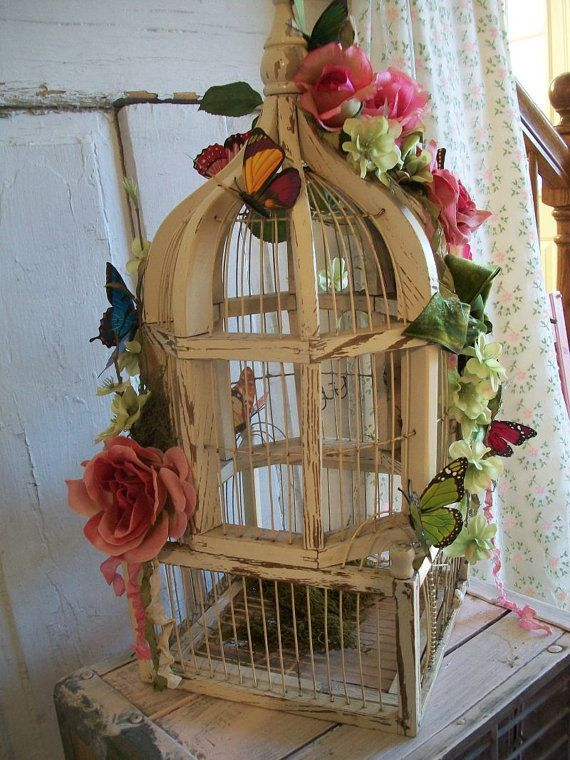 wedding birdcage white wood card holder money holder garden wedding theme ooak