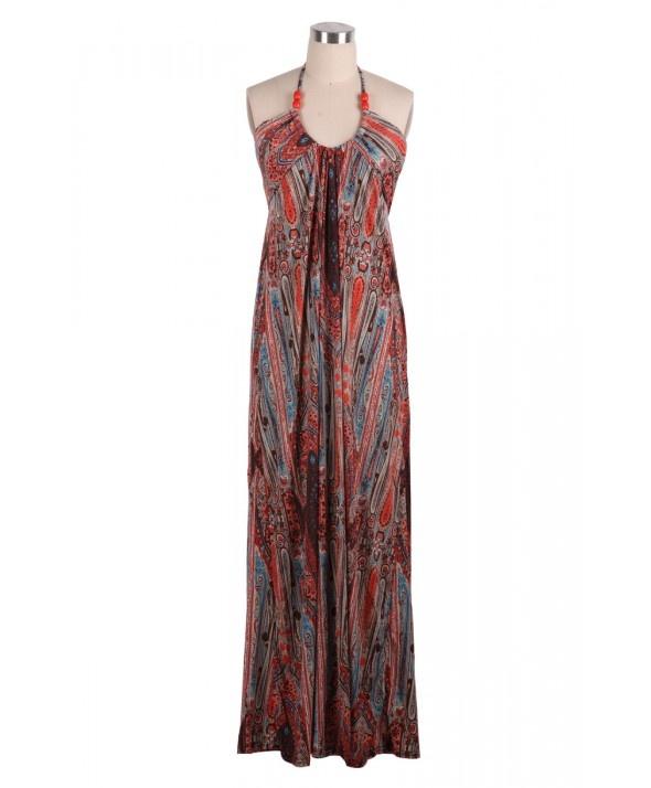 Red Beaded Halter Neck Boho Print Maxi Dress