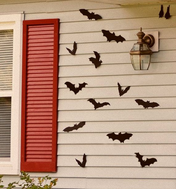 Outdoor Halloween Decoration Flying Colony Of Bats Reuseable Wall