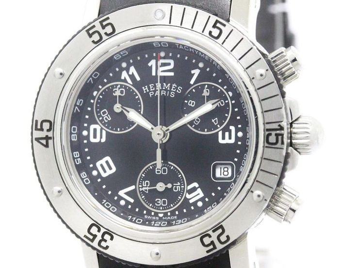 Polished #HERMES Clipper Diver Chronograph Quartz Ladies Watch CL2.315 (BF105850): #eLADY global offers free shipping worldwide. For more pre-owned luxury brand items, visit http://global.elady.com