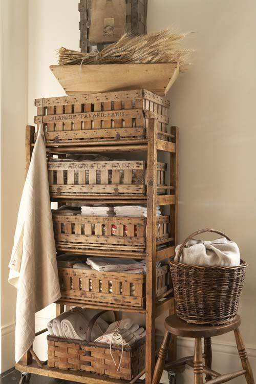 A stack of rustic baskets