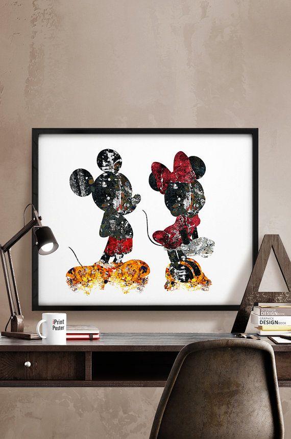 Mickey & Minnie Print, Abstract, Disney poster, Disney ...