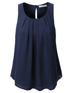 LE3NO Womens Chiffon Pleated Sleeveless Blouse Top