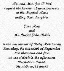 Traditional Wedding Invitation Wording Samples