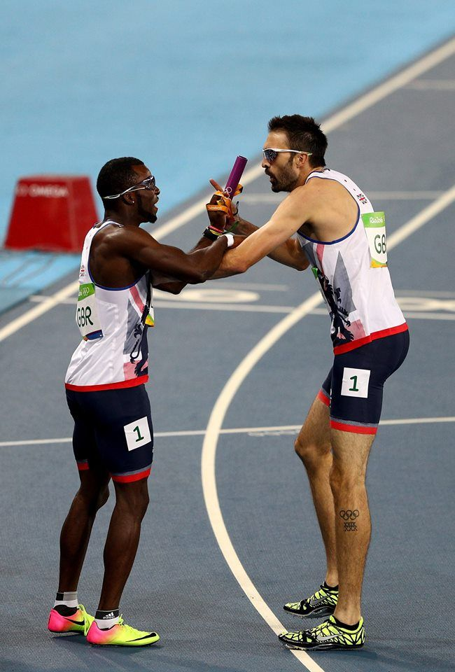 RIO DE JANEIRO, BRAZIL - AUGUST 19: Matthew Hudson-Smith and Martyn Rooney of Great Britain react in Round One of the Men's 4 x 400m Relay on Day 14 of the Rio 2016 Olympic Games at the Olympic Stadium on August 19, 2016 in Rio de Janeiro, Brazil. (Photo by Ian Walton/Getty Images) — in Rio de Janeiro, Brazil.