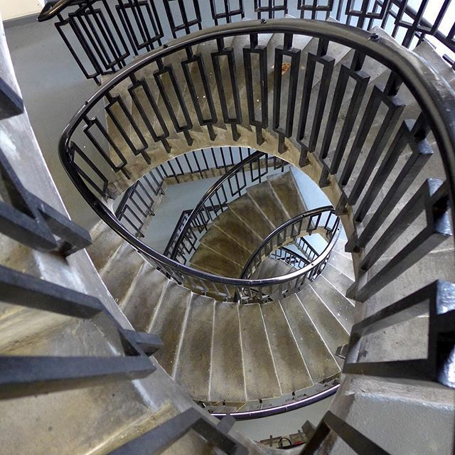 Spiral Staircase at George Loveless House, London by Berthold Lubetkin. © 2016 Alex James Bruce (please don't repost). #brutalism #brutalist #modernist #modernism #midcentury #midcenturymodern #concrete #georgelovelesshouse #bertholdlubetkin #design #london #geometry #architecture #pattern #geometric #lubetkin #spiralstaircase #texture