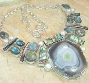 Excellent Botswana Agate Sterling Silver Necklace