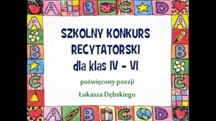 Szkolny Konkurs Recytatorski dla kl. IV-VI - 30.10.2015