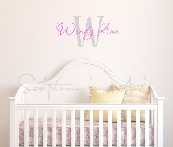 Nursery Monogram with Initial Full First Name nursery, baby room wall decor - personalized monogram for your child's room