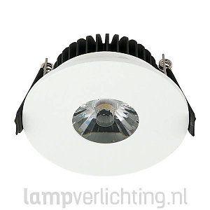 Witte ronde LED Inbouwspot verkrijgbaar in diverse lichtkleuren: warmwit, wit en koudwit. #inbouwspot #downlights #ledspots #kantoorverlichting #binnenverlichting #ledverlichting