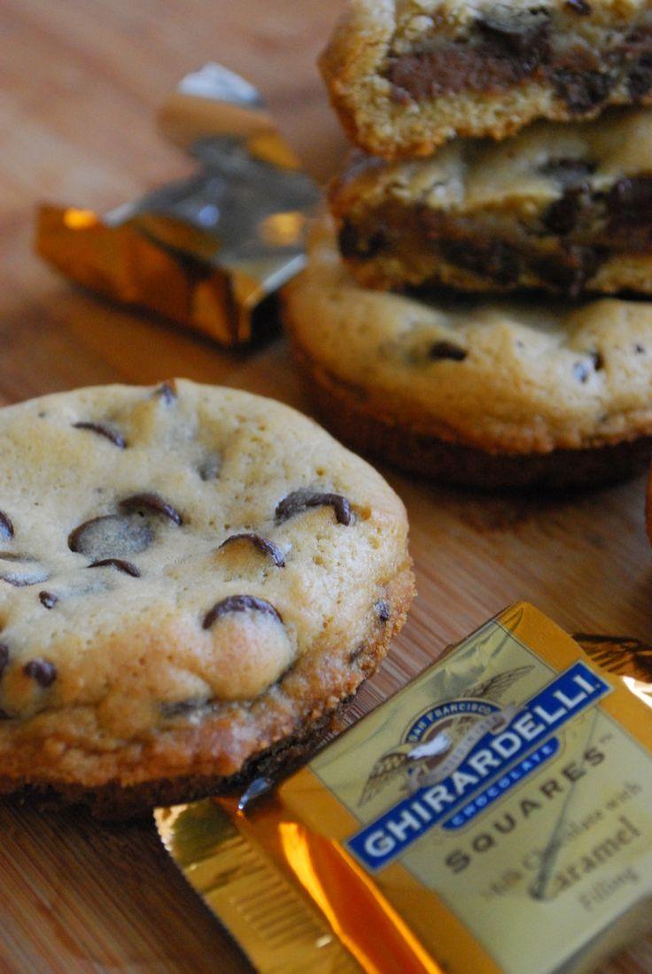 Chocolate caramel stuffed chocolate chip cookies