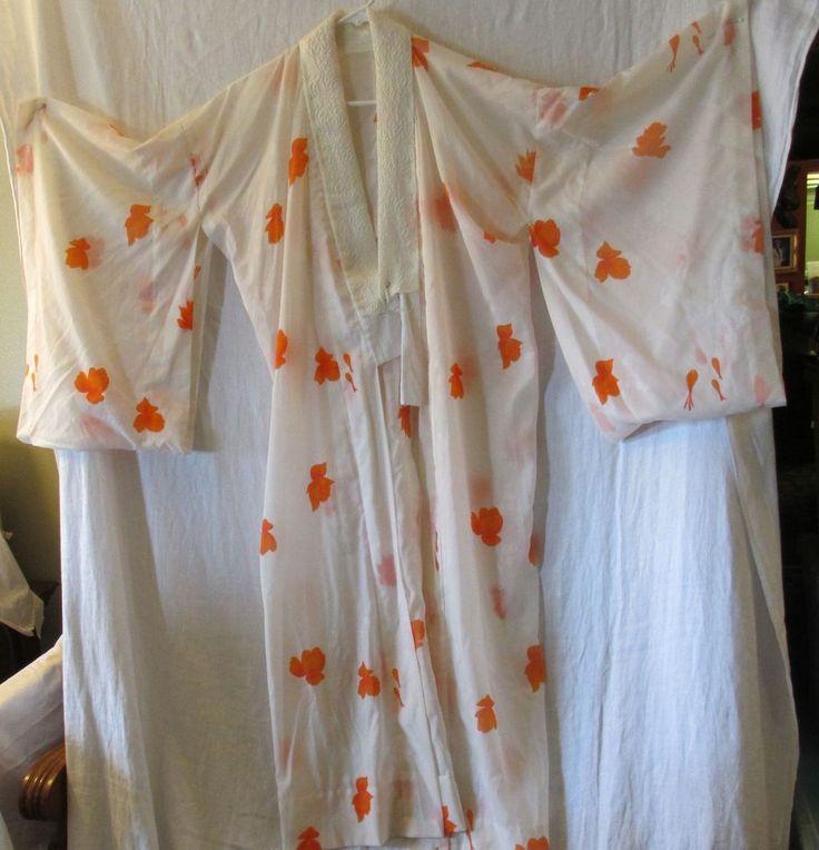 Japanes Kimono Naga JUBAN / Long undergarment silk ( Flower pattern Design)