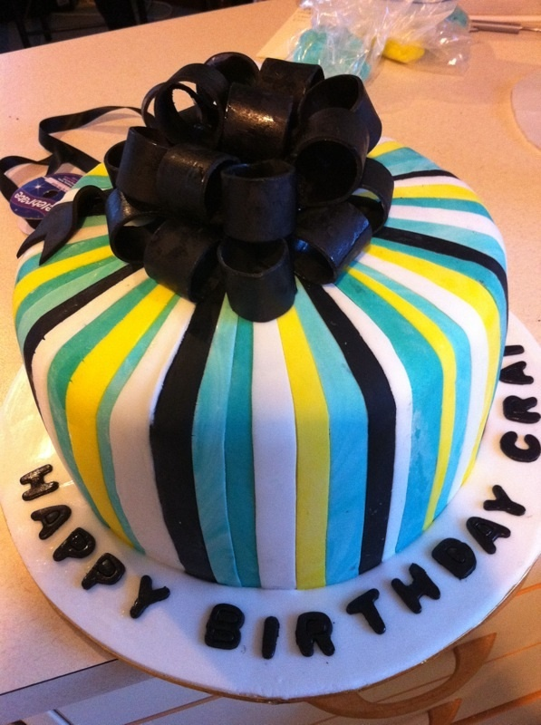 Striped bow cake