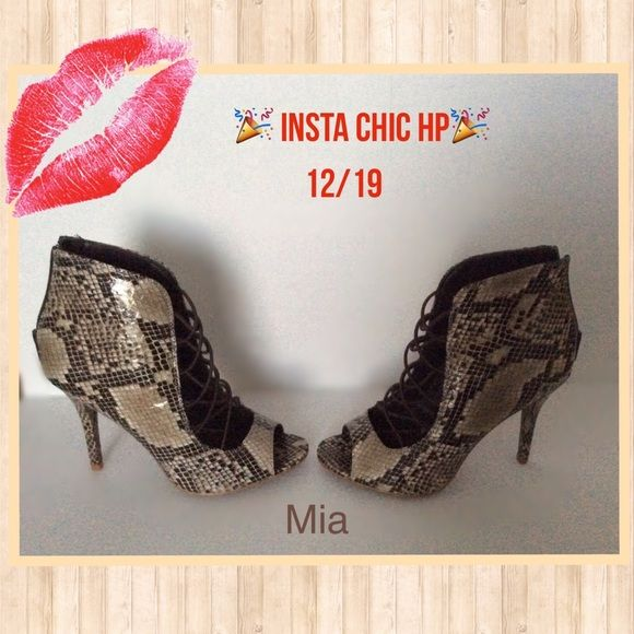 """Mia Vienna Bootie  """"HP"""" FLASH SALE Mia Vienna peep toe Bootie.  Stunning snake print heels have girlie style that will give any outfit high end appeal.   Back zipper. Round peep toe.  4 inch heel. NWOT. MIA Shoes Ankle Boots & Booties"""