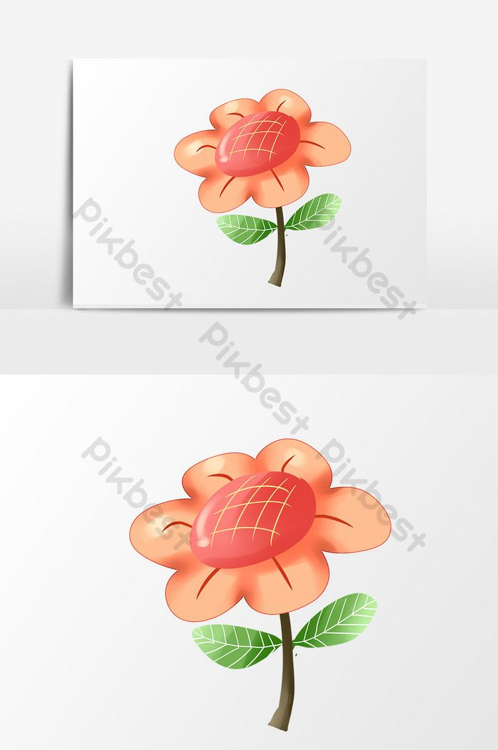Drawing Cartoon Small Fresh Red Flower Spring Outing Elements Png Images Psd Free Download Pikbest Red Flowers How To Draw Hands Elements