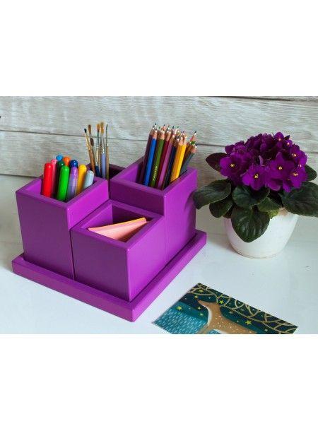 Органайзер для канцелярии 4 секции (фиолетовый)