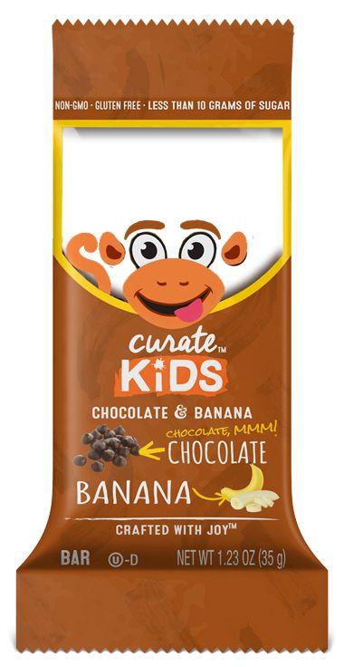 Your little monkey will be thrilled with the sweet taste of chocolate and the creaminess of bananas. The organic quinoa and almond butter let the flavor shine through. All Curate Kids Bars are non-GMO and gluten-free.