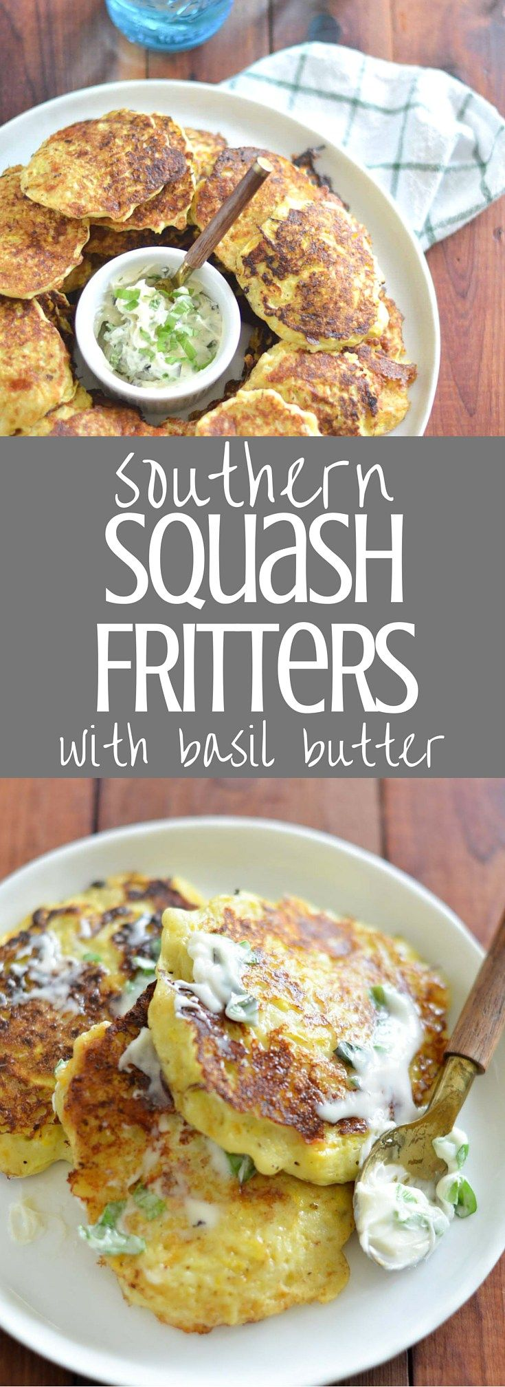 Squash Fritters with Basil Butter | A Southern classic, fresh summer squash is combined with onion and cheese and fried in a hot cast iron skillet to make these delicious fritters. Served with softened basil butter, squash fritters are the perfect appetizer or side for your next cookout or fish fry. Clickthrough for the full recipe!