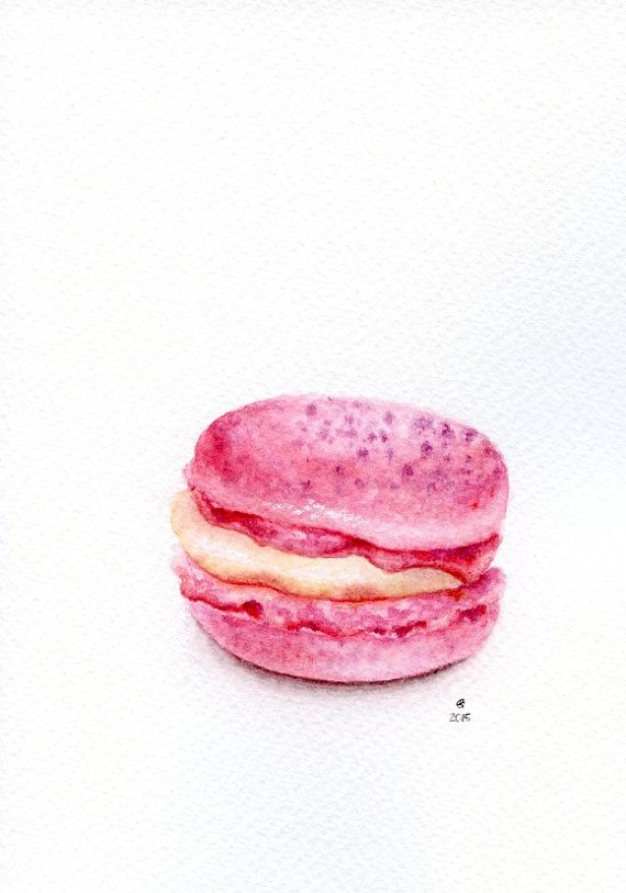 Pink Macaron 2  ORIGINAL Painting Dessert от ForestArtStudio